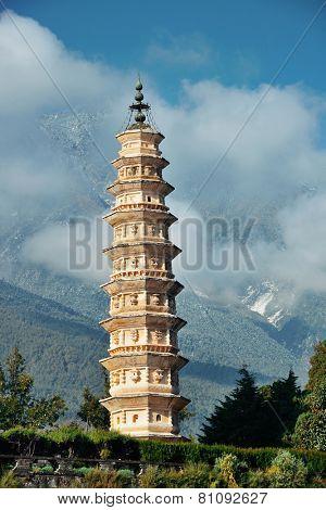 Ancient pagoda closeup in Dali old town, Yunnan, China.