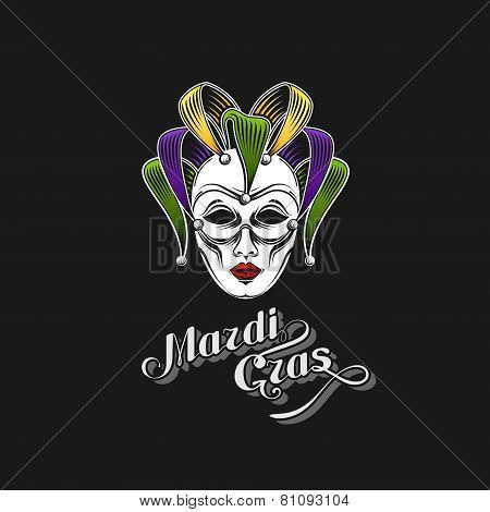 vector illustration of engraving Mardi Gras or Shrove Tuesday carnival mask emblem and ornate letter