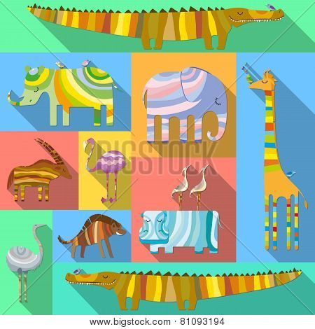 Flat Icons with African Animals