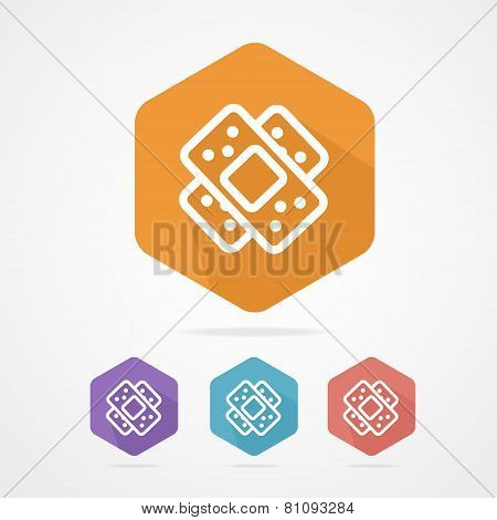 Two plaster vector icon. Patch flat icons
