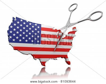 Scissors and USA (clipping path included)