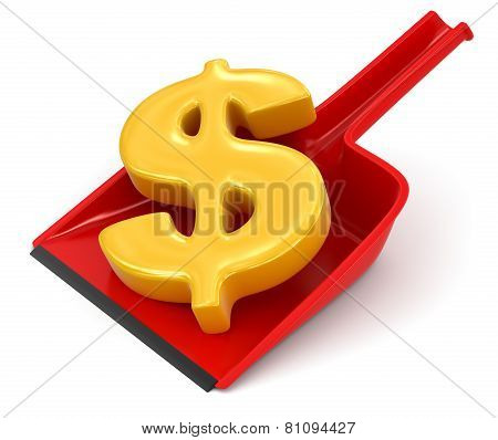 Dustpan and Dollar Sign (clipping path included)