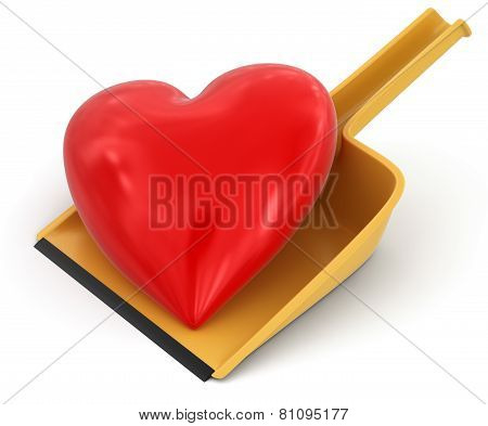 Dustpan and Heart (clipping path included)