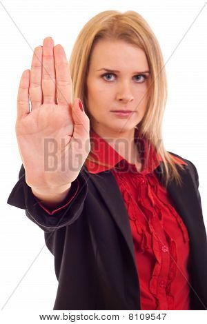 Woman Making Stop Gesture