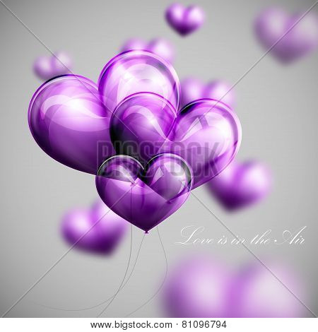 vector holiday illustration of flying bunch of violet balloon balloon hearts. Valentines Day or wedd