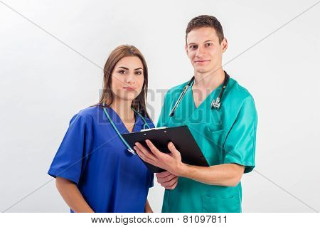 Medical professionals standing isolated.