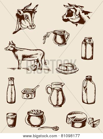 Vintage Dairy Products And Cow