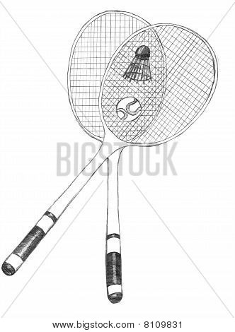 badminton, tennis rackets sketch
