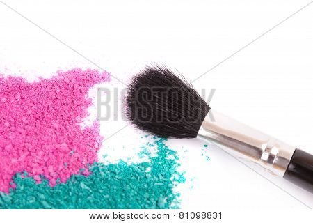 Powdery Eyeshadow Makeup And Brush