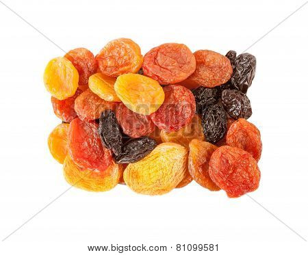 Dried fruits isolated over white background