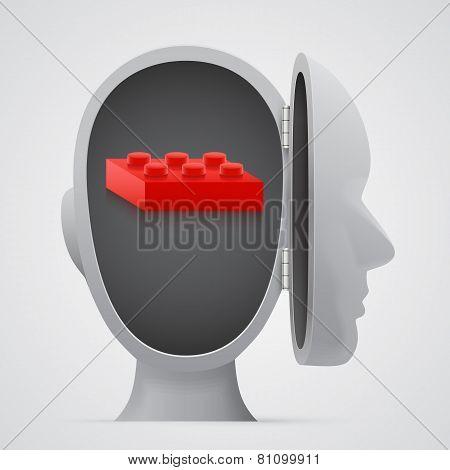 Block inside open head. Logic concept.