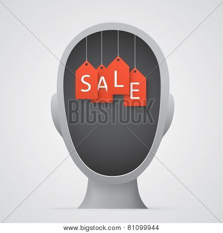 Orange sale tags inside a head silhouette.