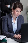 image of deprivation  - Working female employee being controlled by boss - JPG