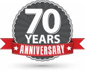 picture of 70-year-old  - Celebrating 70 years anniversary retro label with red ribbon vector illustration - JPG