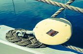 stock photo of sailing vessel  - Blocks and tackles of a sailing vessel - JPG