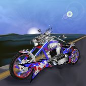 picture of chopper  - Vector illustration chopper with an eagles head - JPG