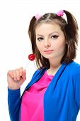 stock photo of lolita  - Beautiful young lady with a lollipop on white background  - JPG