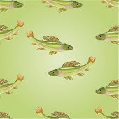 pic of carnivores  - Seamless  texture salmon grayling carnivore jumps vector illustration - JPG
