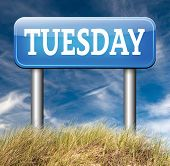 stock photo of tuesday  - tuesday road sign event calendar or meeting schedule  - JPG
