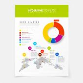 picture of pie  - Paper poster with simple world map infographic and flat design pie chart - JPG