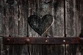 picture of carving  - Heart carved in wood - JPG