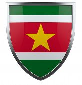 pic of suriname  - Suriname flag national security shield isolated icon - JPG