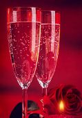 picture of champagne glass  - Valentine day dinner - JPG