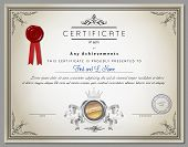 picture of certificate  - Vintage certificate template with detailed border and calligraphic elements on old paper with ribbon in vector - JPG