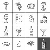 picture of wine cellar  - Wine icons set  - JPG