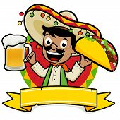 stock photo of tacos  - Vector Illustration of a Mexican man holding a cold beer and a taco - JPG