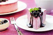 pic of cheesecake  - black currant cheesecake on a white plate - JPG