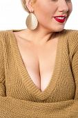 stock photo of cleavage  - Closeup cleavage image of a young woman - JPG