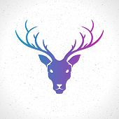 picture of deer head  - Deer head silhouette isolated on white background vintage vector design element illustration  - JPG