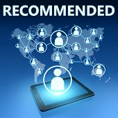 picture of recommendation  - Recommended illustration with tablet computer on blue background - JPG