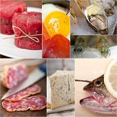 pic of high calorie foods  - high protein food collection collage nested on white frame - JPG