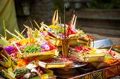 stock photo of gift basket  - Hindu offerings and gifts to god in the temple in Bali Indonesia - JPG