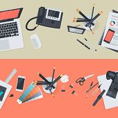 pic of creativity  - Flat design vector illustration concepts of creative office workspace - JPG
