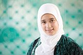 stock photo of middle eastern culture  - Happy Arabic Muslim Middle Eastern girl - JPG