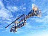 stock photo of trumpets  - Computer generated 3D illustration with a trumpet against a blue sky with clouds - JPG