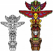 pic of totem pole  - Totem Pole vector illustration image isolated on a white background - JPG