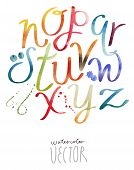 pic of alphabet  - Watercolor painting alphabet vector file - JPG