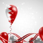 picture of balloon  - Flag of Bahrain on balloon - JPG