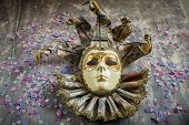 stock photo of venetian carnival  - Al cassical venetian carnival mask on wood - JPG