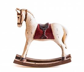 picture of carousel horse  - Antique toy rocking horse isolated on white - JPG