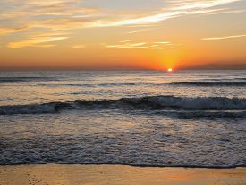picture of valencia-orange  - Landscape at sunrise at the beach Valencia Spain  - JPG