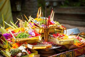 foto of hindu  - Hindu offerings and gifts to god in the temple in Bali Indonesia - JPG
