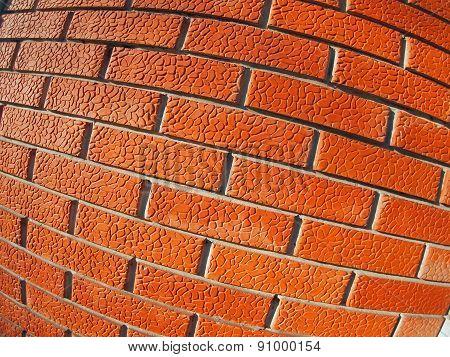 Wall Of Decorative Red Bricks Close Up