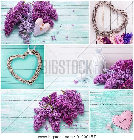 Collage With Lilac Flowers And Decorative Hearts