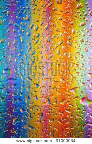 Water Drops On Colorful Background