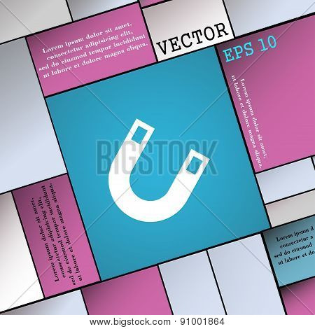 Magnet, Horseshoe  Icon Sign. Modern Flat Style For Your Design. Vector